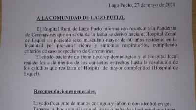 Coronavirus: Investigan posible caso en Lago Puelo