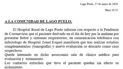 Coronavirus: Descartaron caso sospechoso en Lago Puelo