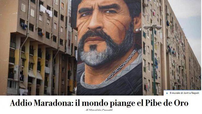 La muerte de Diego Maradona en los diarios del mundo
